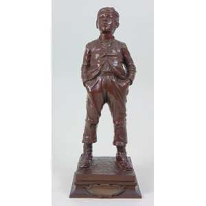 Halfdan HERTZBERG (1857-1890) -Escultura de bronze representando figura masculina - Exp. de 1889 - 37 cm alt . Artista da Escola Norueguesa .