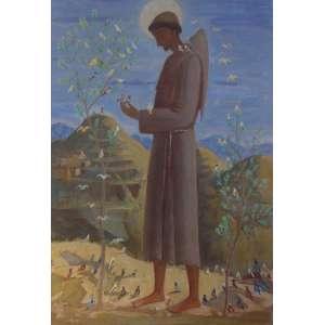 Fulvio Pennacchi - São Francisco de Assis - Óleo sobre placa de madeira / Csd - 1976 - - 79,5 x 54 cm.