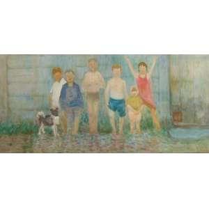 ASSINATURA NÃO IDENTIFICADA - Crianças e Cachorro - OST/CID - 73 x 154 cm.