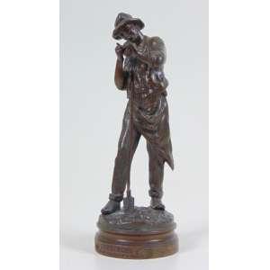 Maurice Constantini - Escultura de fino bronze representando Lavrador - 19 cm alt.Europa Sec XIX.