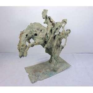 AGOSTINELLI Mario - Grande Escultura de bronze representando cavalo montado - 97 cm alt, 80 x 40 cm.Brasil Sec xx.