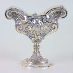 Naveta de prata de lei com descrição - Santa Ana - Brasil - Séc. XVIX/XIX - 15 cm alt, 16 cm compr, 7 cm prof.