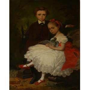 CHARLES LOUIS VIELCAZAR. Pintura Europeia, Crianças. Óleo sobre tela 130 X 90cm. Assinado no canto inferior esquerdo, datado de 1869. (necessita restauro)