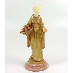 ALONZO DOMENICO - ORANGE SELLER -Delicada escultura de Bronze e Marfim com sabor Japoneri França Séc XIXXX- 24 cm altura.