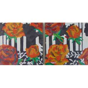 ANA ELISA EGREJA - Flores - Diptico / OST - Assinado no verso - 30 x 30 cm (cada) .