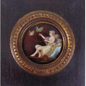 Miniatura esmaltada representando figura feminina - Europa Séc.XIX - 7 cm diâm