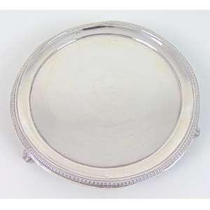 Salva de prata de lei - Porcelana - P. Coroa - Portugal - 18 cm diâm.