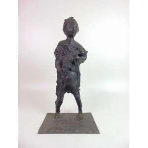 AGOSTINELLI MARIO - Escultura representando menino e seu cachorro - 70 cm de alt, 33 x 26 cm.Brasil Séc XX
