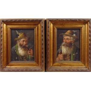 Assinatura ilegível -Par de Pinturas - Representando Anciões - OSM - 19 x 13 cm. Sec XIX