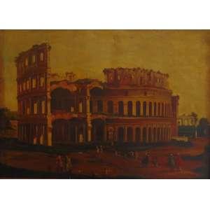 ANÔNIMO - Vista do Coliseu - OST - 82 x 111 cm. (Etiqueta Florença Arte Decorações) (tela no estado)