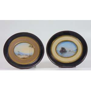 Par de delicadas Aquarelas representando paisagens do Séc. XIX - 1 peças está assinada Maia - 10 x 12 cm.
