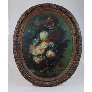 ESCOLA FLAMENGA - Vaso de flores - OST, guarnecido por moldura de época , grande qualidade pictórica . Holanda Sec XVIII - 79 x 61 cm