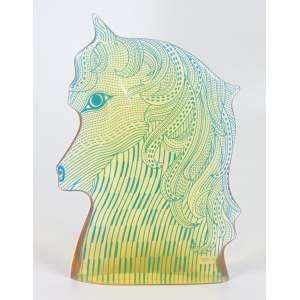 ABRAHAM PALATINIK - Escultura em Resina de Poliéster - Cabeça de cavalo - Ass - em fino estado - 22 cm alt.