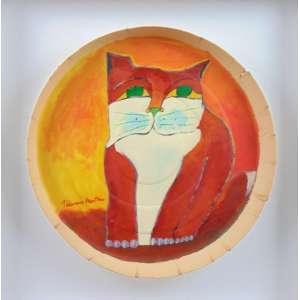 Aldemir Martins - Gato acrilico sobre caixa de pizza - CIE - 38 cm diâm.