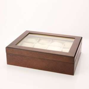 Caixa expositora de madeira para doze relógios