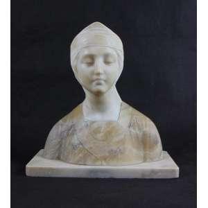 Busto executado em delicado alabastro de dois tons representando jovem dama Renascentista . Itália Sec XIX. - 32 cm alt.