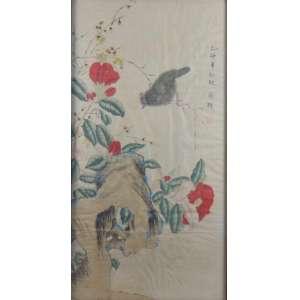 Pintura Oriental vegetação e pássaros - 90 x 46 cm.