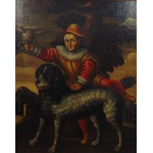 Anonimo - Pintura representando figura com cachorro e gavião - OST - 122 X 100 cm.Europa Sec XIX.