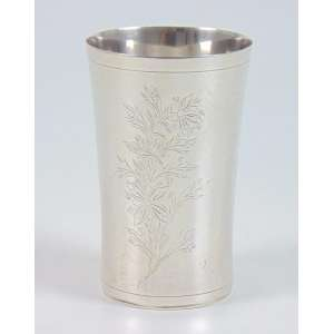 Copo de prata de lei.Brasil Séc XIX. 11 cm alt, 7 cm diâm.