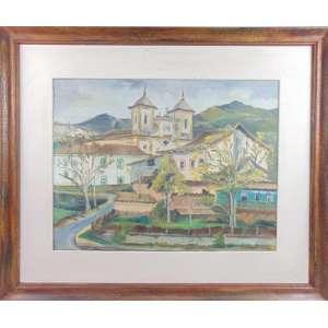 Zorlini - Casário de outo preto - Minas Gerais - OST (atrás carimbo do salão Paulista de Belas Artes) 50 x 65 cm.