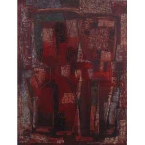 Rosário Moreno - Técnica mista - Abstrato - CID - Dat. 59 - 63 x 49 cm.