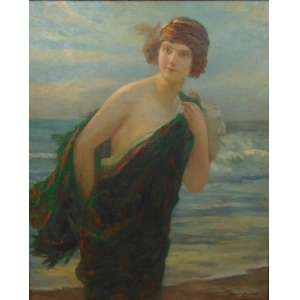 ABEL BOYE - Banhista - OST - 99 x 82,5 cm . Pintor especializado em figuras femininas . França Sec XIX