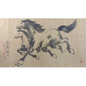 Pintura Oriental retratando cavalos - 57 x 99 cm.
