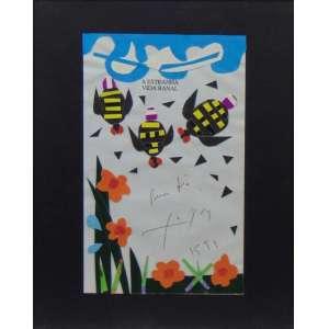 FERREIRA GOULART - colagem sobre pagina da obra A estranha Vida Banal- CID / 21 x 13 cm.