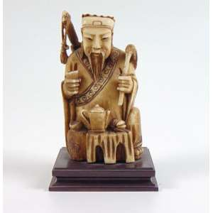 Escultura em marfim representando Sábio - 12 cm alt. China Sec XIXXX.