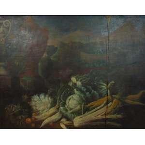 DE CARO BALDASSARE(Atribuído) Grande pintura representando Nat Morta - OST - 115 X 150 cm. (NO ESTADO ) Baldassarre De Caro (Nápoles, 1689 - 1750) foi um pintor italiano de vidas mortas, principalmente de caça, mas também de flores. De acordo com seu biógrafo Bernardo existia uma escola ativa de pintura de natureza morta em Nápoles, começando com Porpora via Ruoppolo para Belvedere. De Caro também foi influenciado por bodegones espanhóis e pintores flamengos, incluindo Frans Snyders, David de Coninck, Jan Fyt e o residente napolitano Abraham Brueghel. Por alguns anos, De Caro encontrou patrocínio e favores com a corte bourbon de Nápoles. Seus filhos Giuseppe e Lorenzo (para não confundir com o mais bem sucedido Lorenzo De Caro) De Caro também eram pintores de vida. Giuseppe alegou ter treinado com o renomado pintor barroco Francesco Solimena.