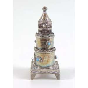 Spice Tower (Torre de especiarias )- prata de lei trabalhada com cabochons de turquesa .13 cm alt. 13 cm alt. (no estado)