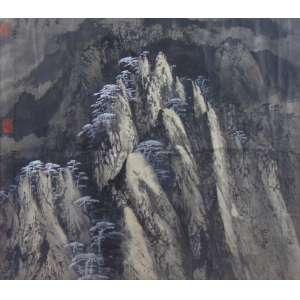Pintura Oriental representando Montanhas - 57 x 65 cm.