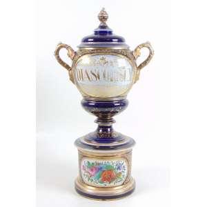 Ânfora de farmácia - Séc. XIX - Porcelana de Paris com a inscrição - DIASCORDIUM. 61 cm alt, 21 cm diâm. (no estado)