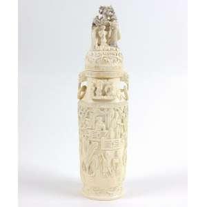 Anfora de marfim trabalhado - 27 cm alt. China Sec XX -