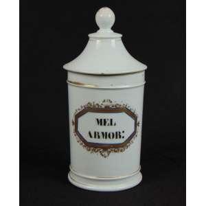 Pote de porcelana esmaltada para artigos de farmácia. Europa Sec XIX - (tampa com bicado) 25 cm alt, 12 cm diâm.