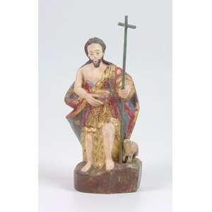 São João Baptista - Escultura de madeira lavrada e policromada . Brasil Sec XIX. 10 x 7 x 20 cm. (No Estado)