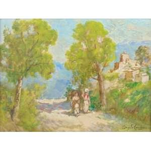 Angelo Canone - Paisagem com figuras - OSE - CID 29 x 39 cm -