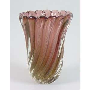Vaso em vidro artístico de de Murano - 17 cm diâm, 23 cm alt. Itália Sec XX.