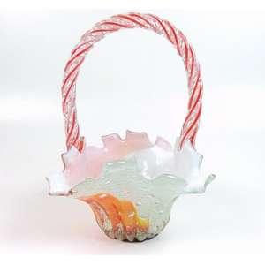 Cesta em vidro artístico de Murano - 31 cm alt - 21 x 21 cm.