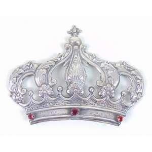 Coroa de prata de lei com adorno de pedras semi preciosas, Brasil Sec XIX. 14 x 19 cm.