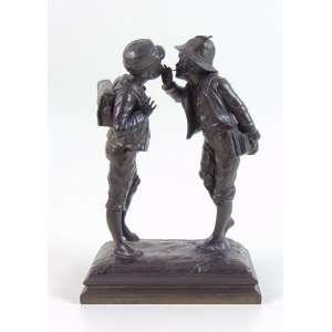 Delicada escultura em Petit Bronze representando crianças assinatura ilegível . Europa Sec XIX -25 cm alt.