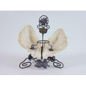 Porta tinteiro de prata e conchas naturais -14 cm alt. 14 cm compr. Europa Sec XIX