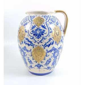 Grande vaso de cerâmica esmaltada com apliques em latão - 42 cm alt, 30 cm diâm. (com bicado na base)