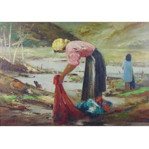 DURVAL PEREIRA - Lavadeira - OST - CIE - Dat. 77 - 69 x 98 cm.