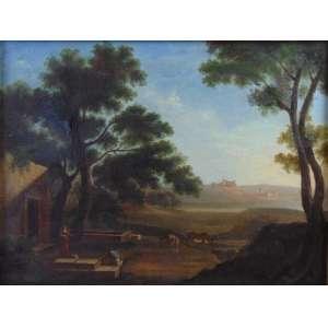 Pintura Inglesa do Sec XVIIIXIX representando Paisagem.- 46 x 61 cm.