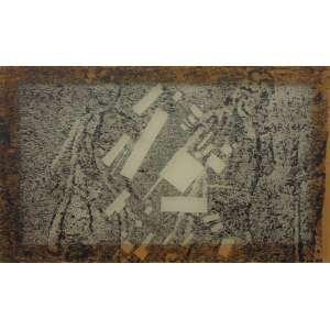 Caetano de Almeida - Composição Suprematista - Acrílica sobre tecido - Ass. datado 1994 - Com etiqueta da Galeria Luisa Strina - 60 x 100 cm.