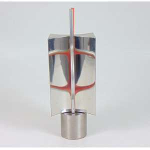 Toyota - Espaço Reflexo Infinito - escultura em aço polido e escovado s/ madeira e tinta acrílica - P.A. 3/5 - assinada- 1986 - 30x10x8 cm.