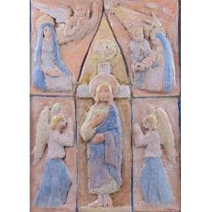 Mario Zanini - Cena Sacra - Cerâmica (Relevo) - ass. cid - 72,5 x 52,5 cm