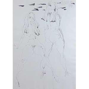 Flavio de Carvalho - Série Mulheres 8 - Desenho a Nanquim - Ass. superior direito 1969 - Com etiqueta da Galeria Cosme Velho no verso - 70 x 50 cm.