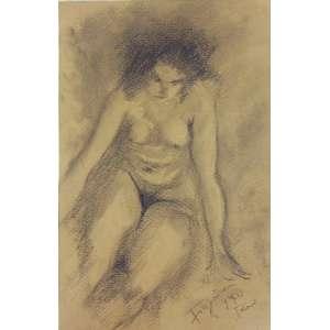 FIGUEIRA - Nú Feminino - crayon s/ cartão - ass. cid - Rio 1940 - 24x16 cm - não emoldurado.